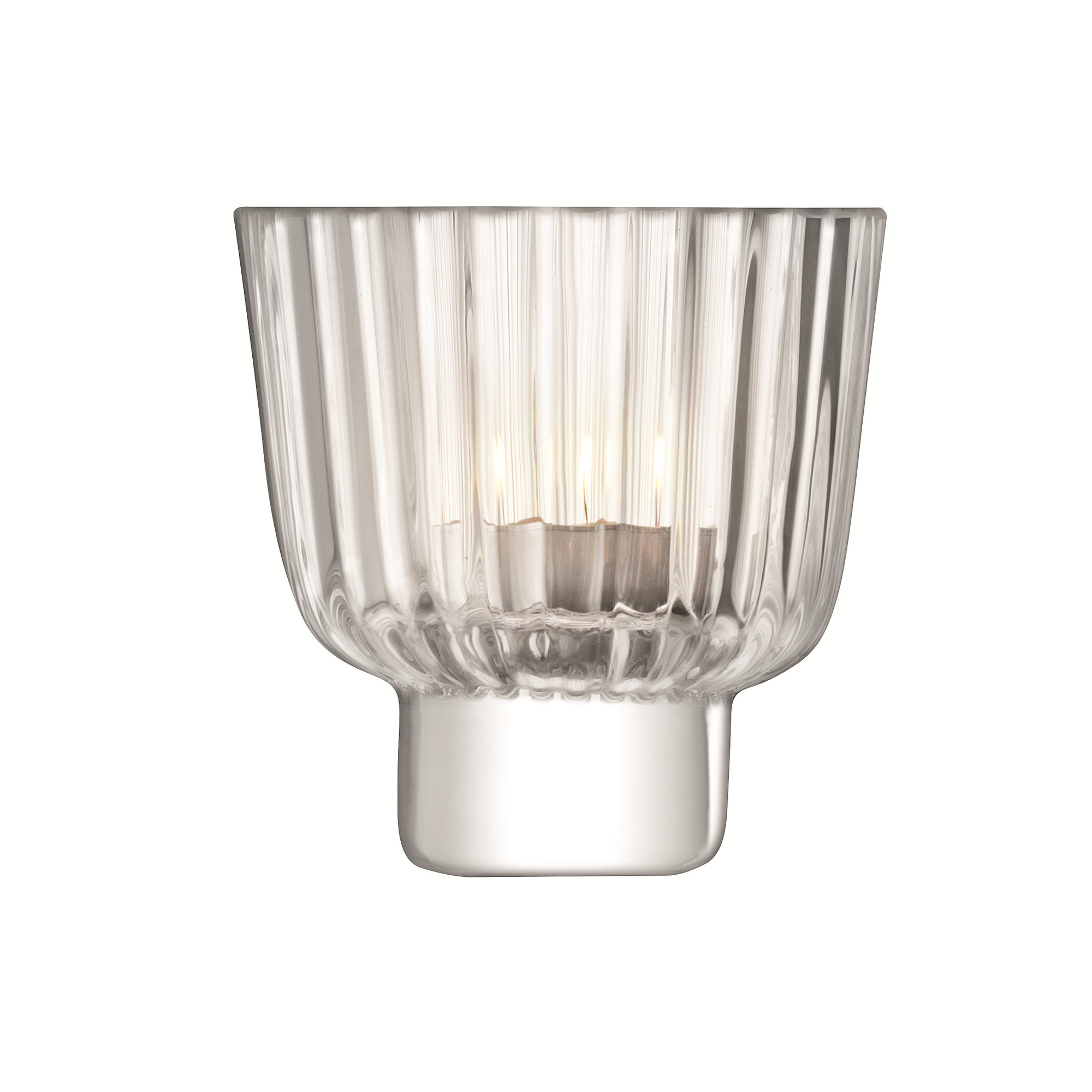 LSA Glass Pleat Range Tealight Candle Holder - Clear ...